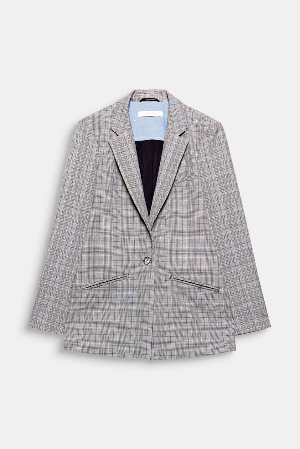 This fitted one-button blazer with an androgynous Prince of Wales check pattern looks both chic and casual.