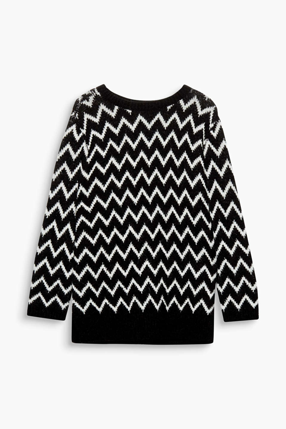We love Knitwear! Dieser Oversized-Pullover gefällt dank coolem Zick Zack-Muster im Black and White-Look.