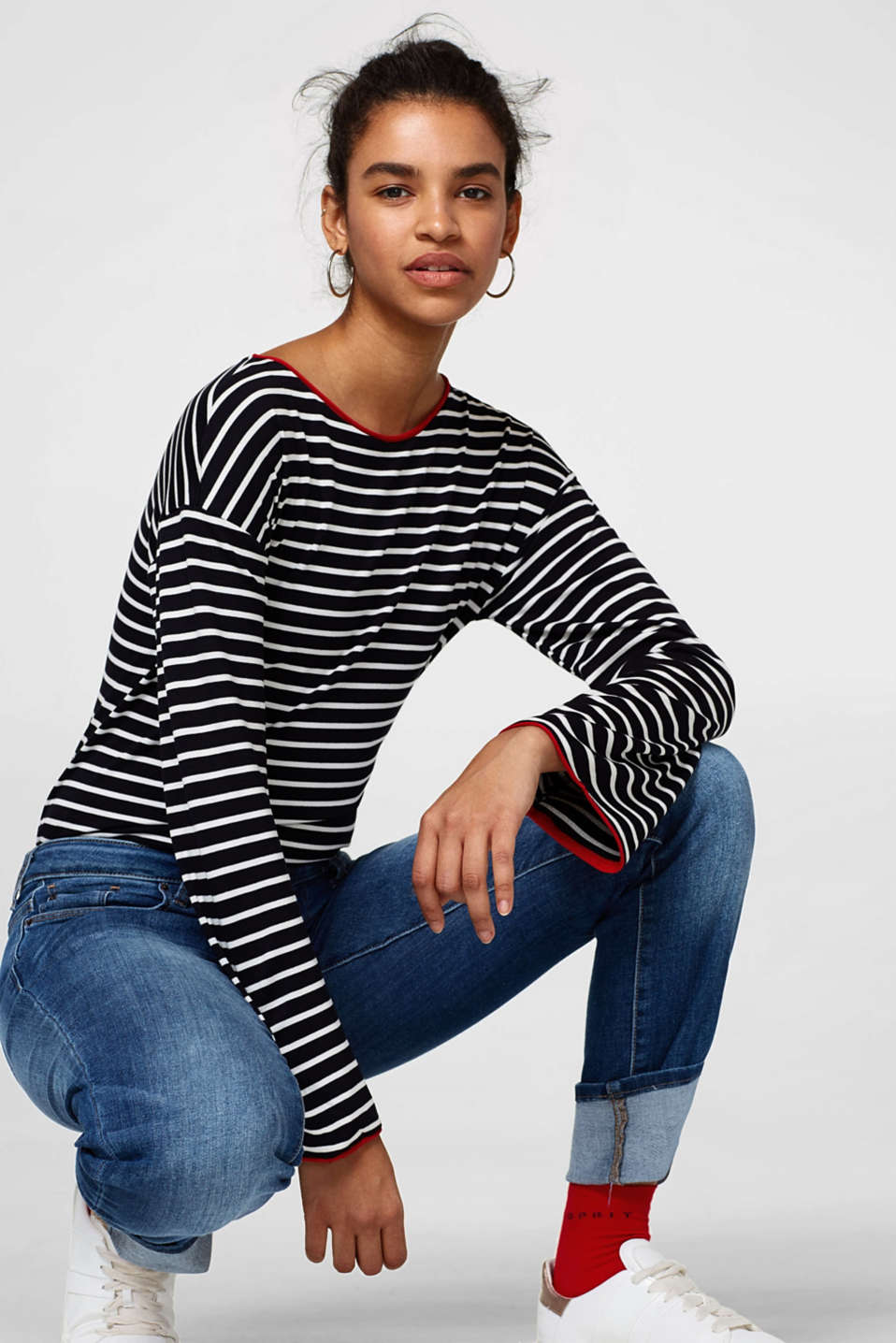 Esprit - Striped long sleeve top in soft jersey