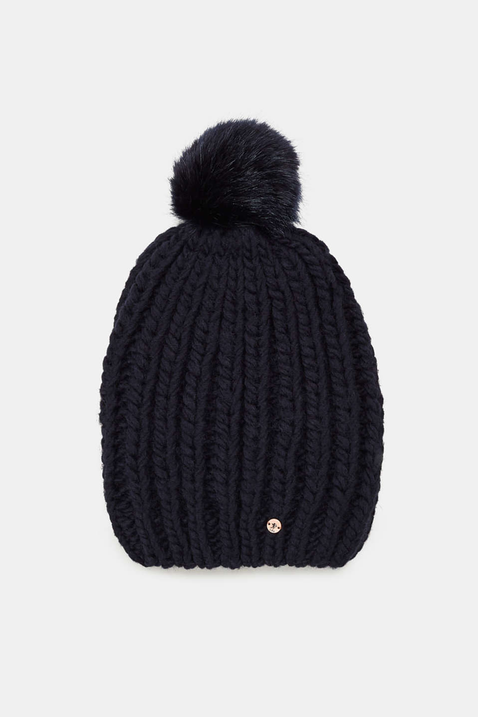 edc - Blended wool: hat with faux fur pompom