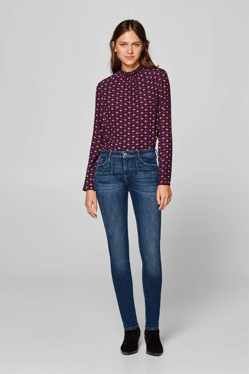 edc - Super-stretch jeans with stud details
