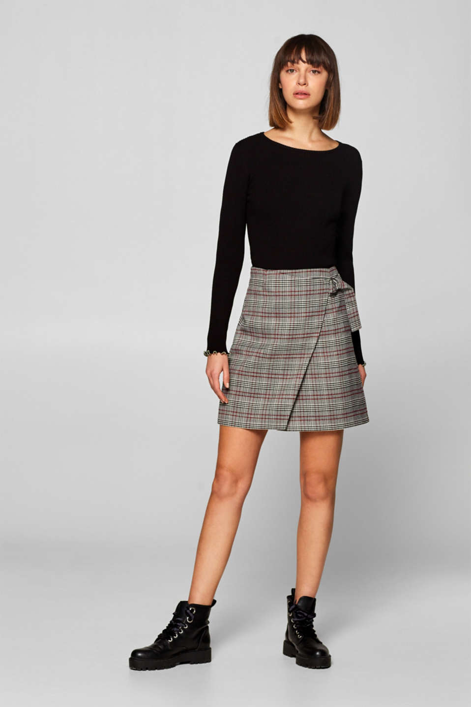 edc - Checked wrap-over skirt with stretch