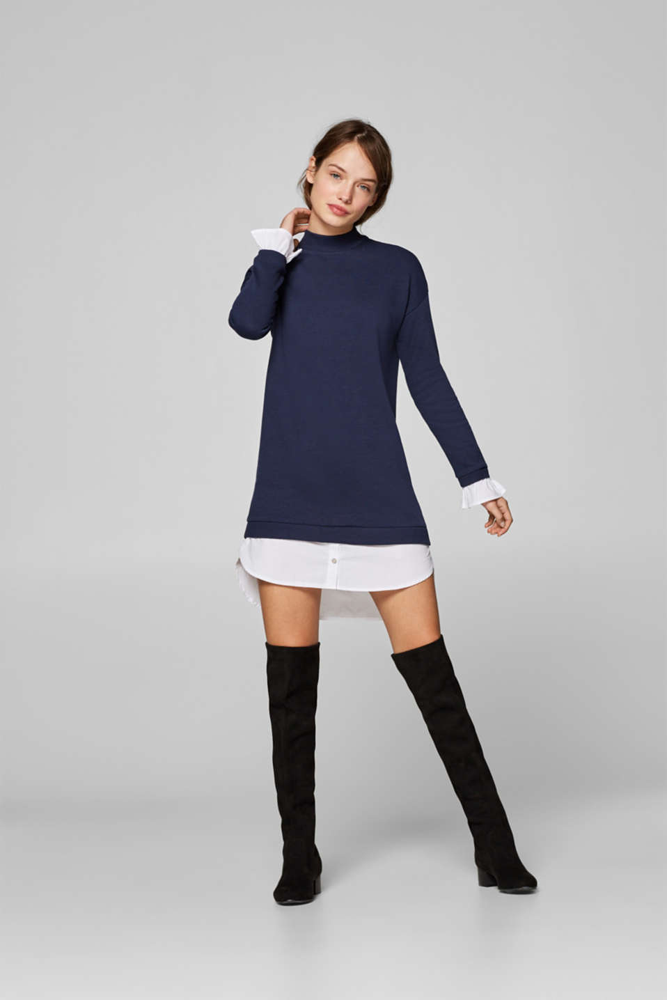 edc - Sweatshirt dress with a cloth hem