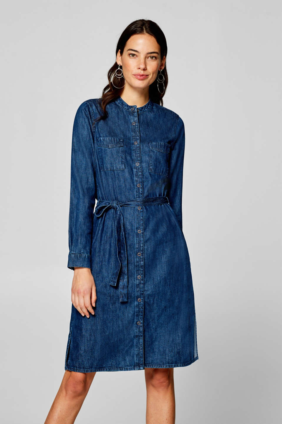 edc - Denim dress with a tie-around belt, 100% cotton