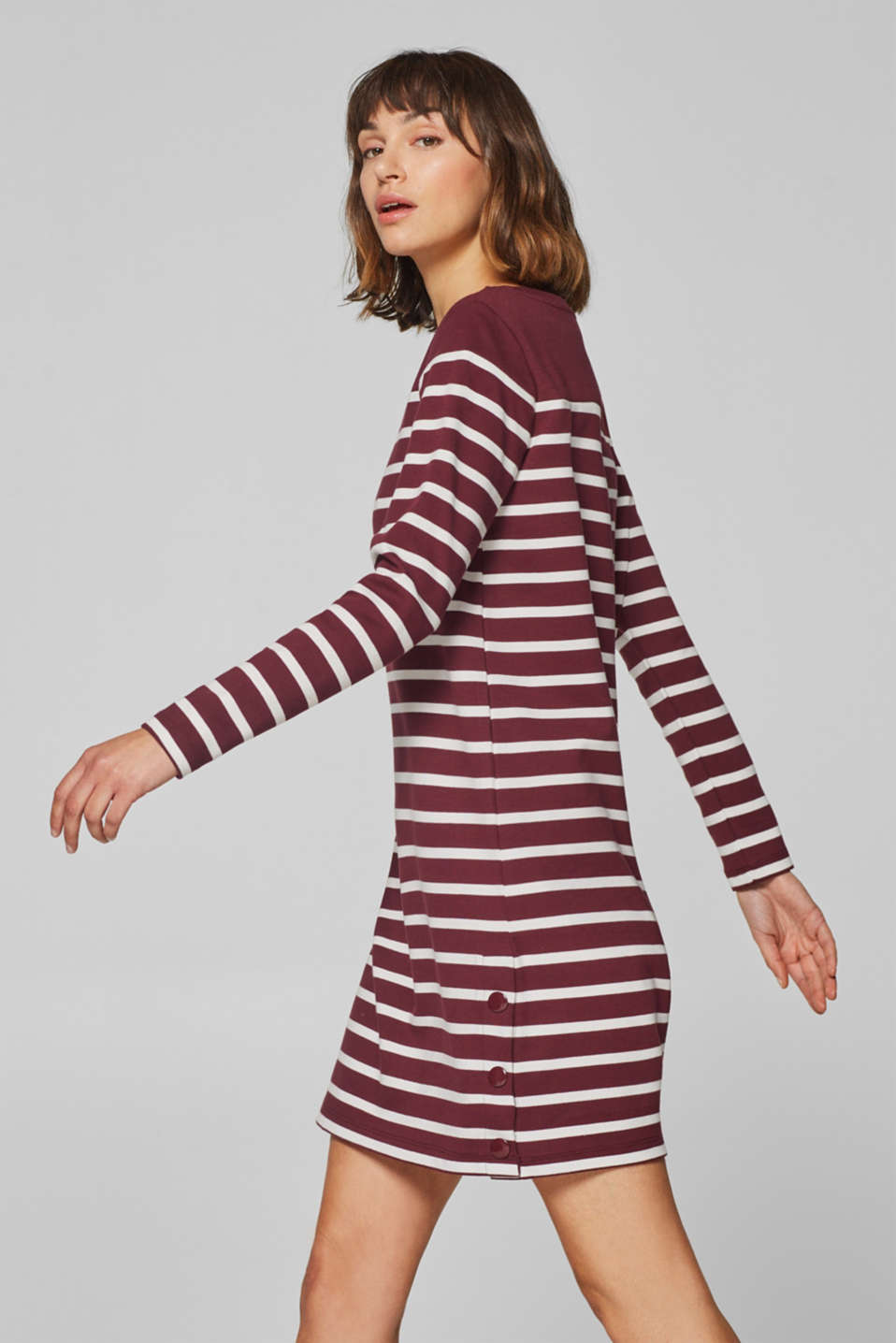 edc - Striped sweatshirt dress with buttons