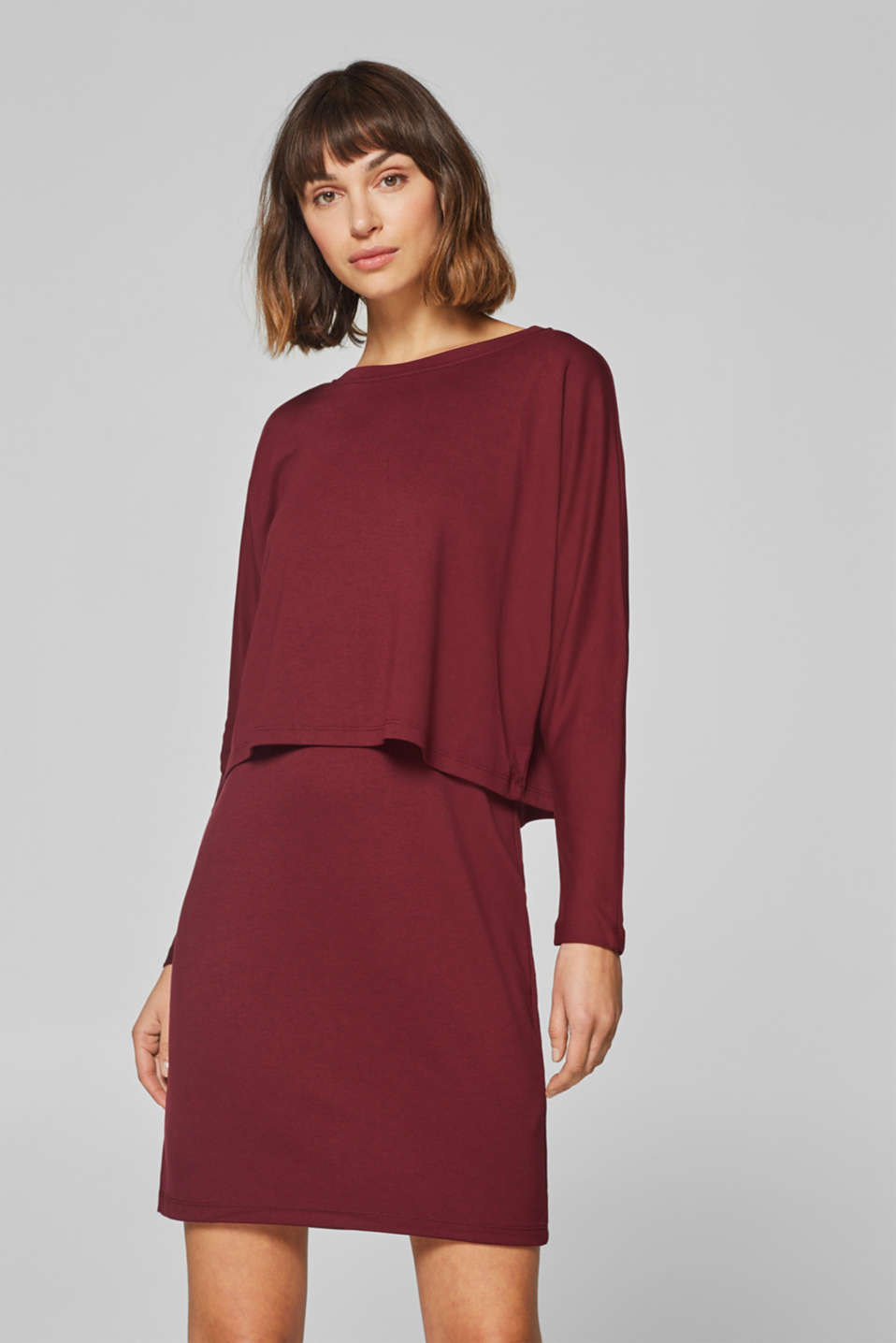 edc - Layered jersey dress with batwing sleeves