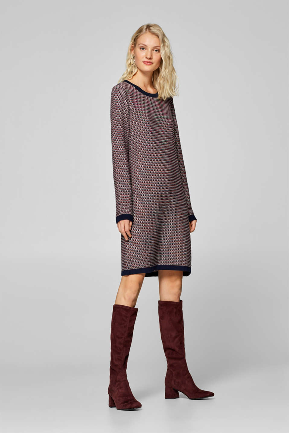 edc - Textured knit dress, 100% cotton