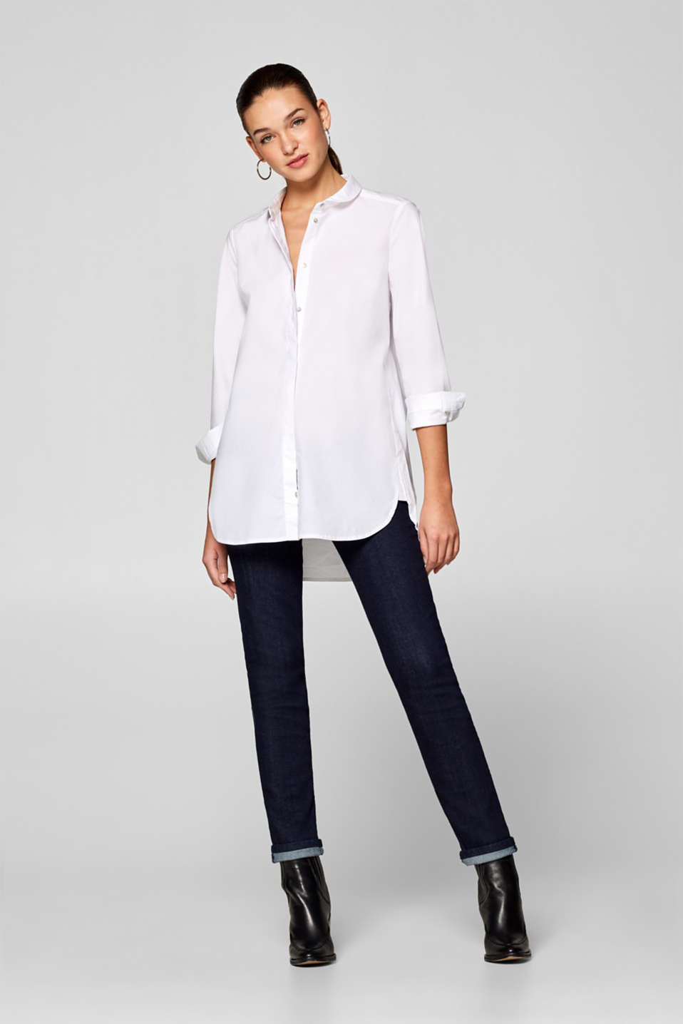 edc - Stretch cotton long blouse with a Peter Pan collar