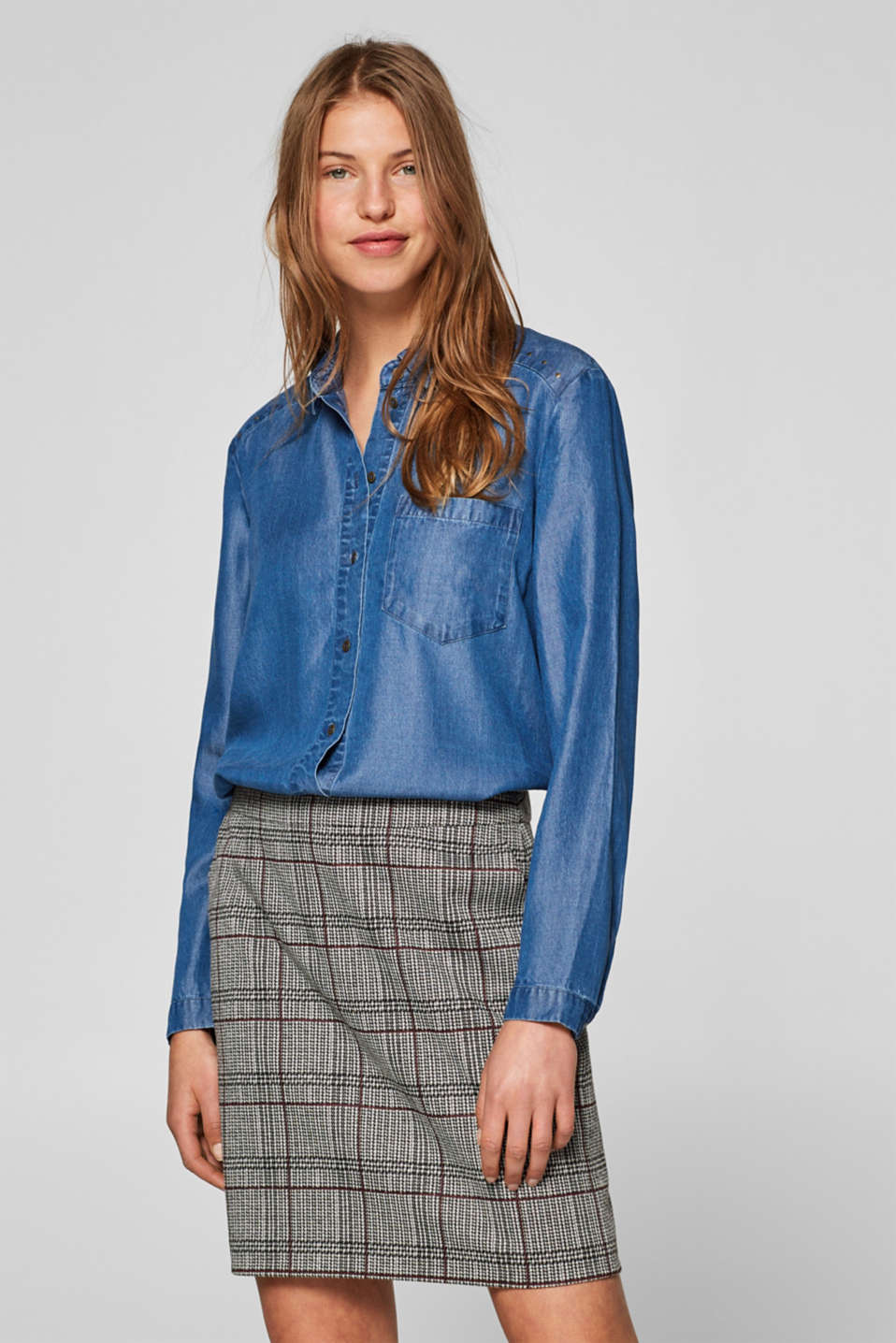 edc - Denim-effect lyocell blouse trimmed with studs
