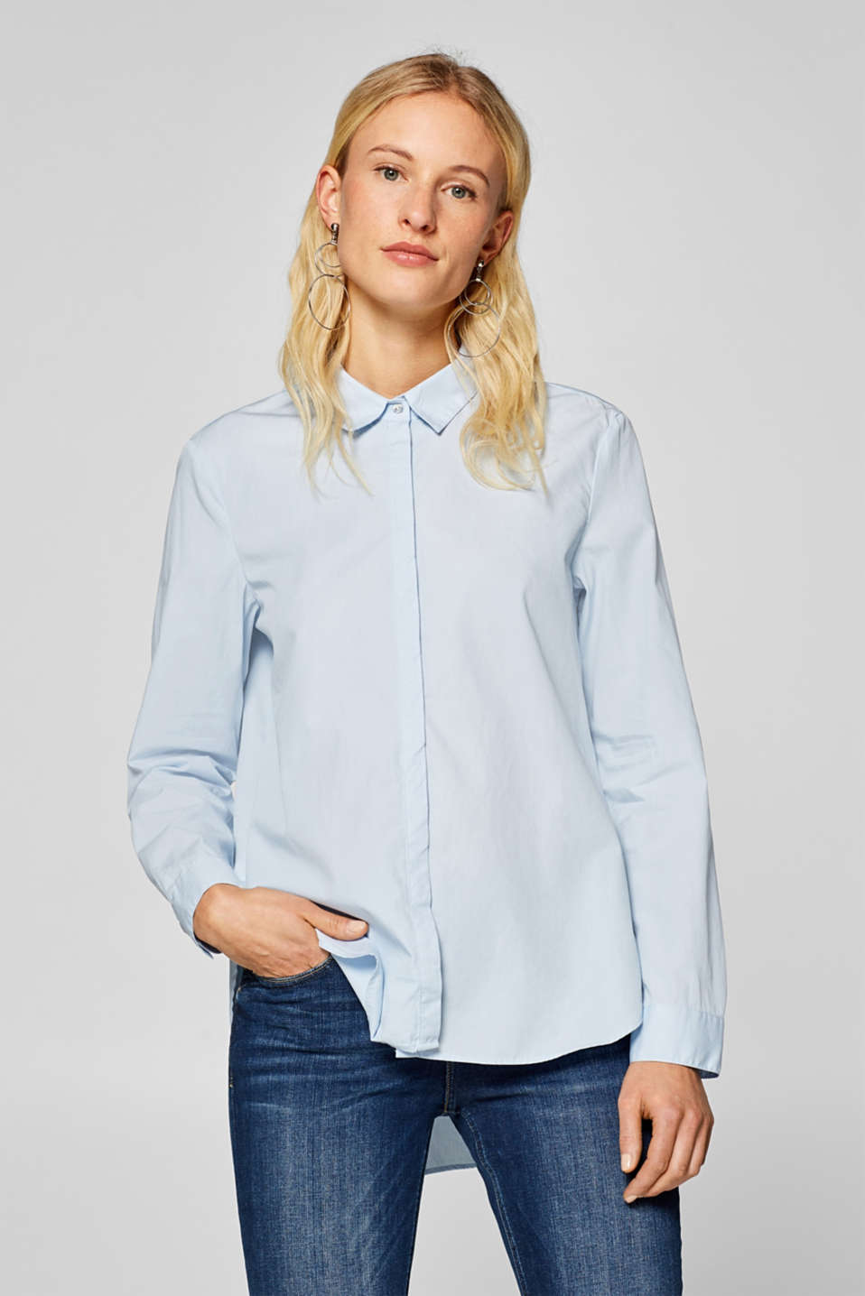 edc - Casual bluse med high-low-kant