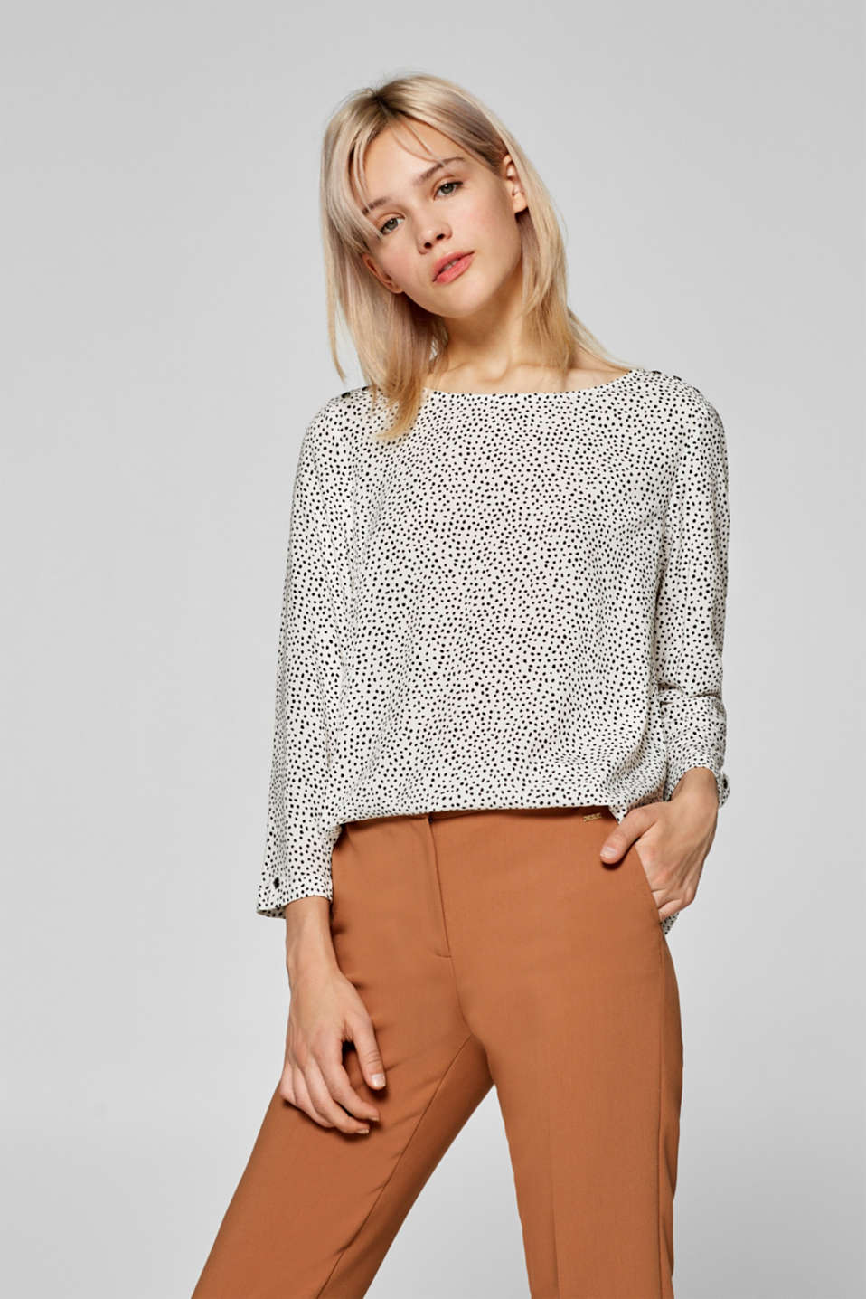 edc - Boxy printed blouse with three-quarter length sleeves