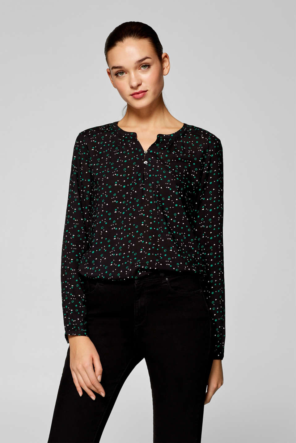 edc - Henley blouse with elasticated borders