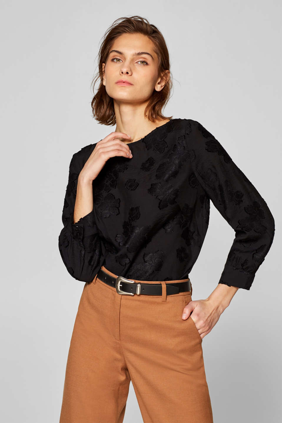 edc - Casual blouse with shimmering jacquard flowers