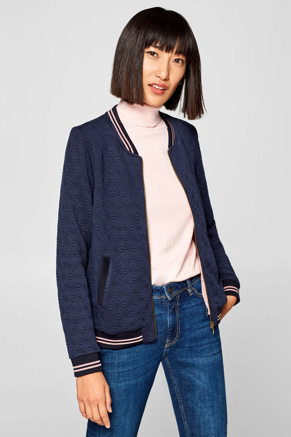 edc - Bomber jacket in topstitched jersey