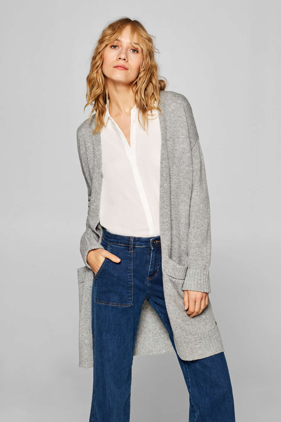 edc - Wool blend: long open cardigan with pockets