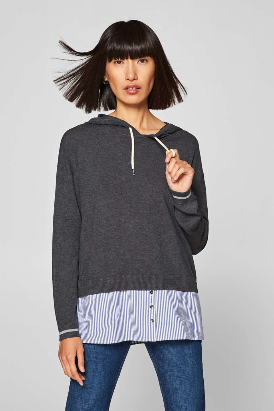 edc - Layered-effect hoodie with a denim hem trim