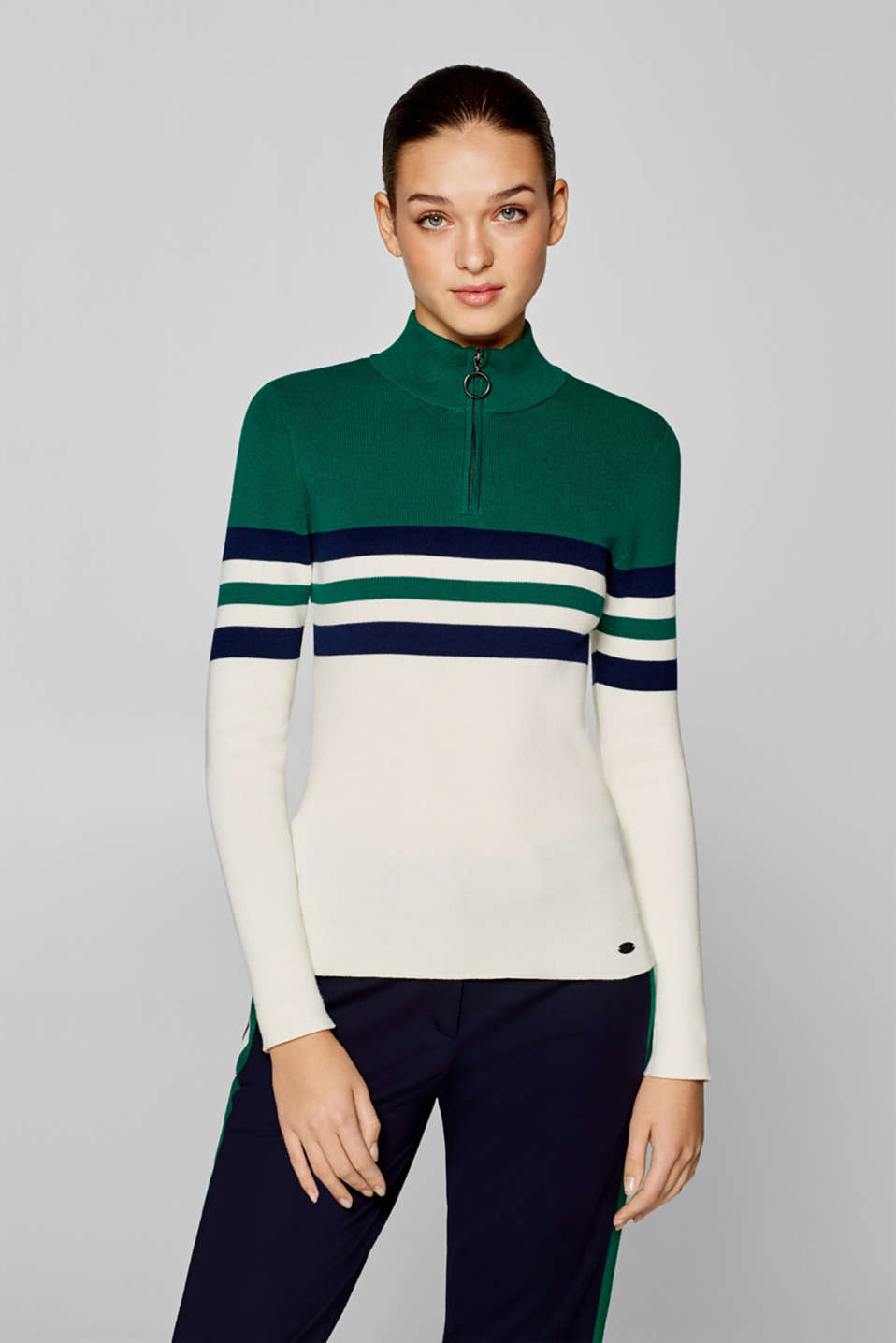 edc - Striped turtleneck jumper with a zip