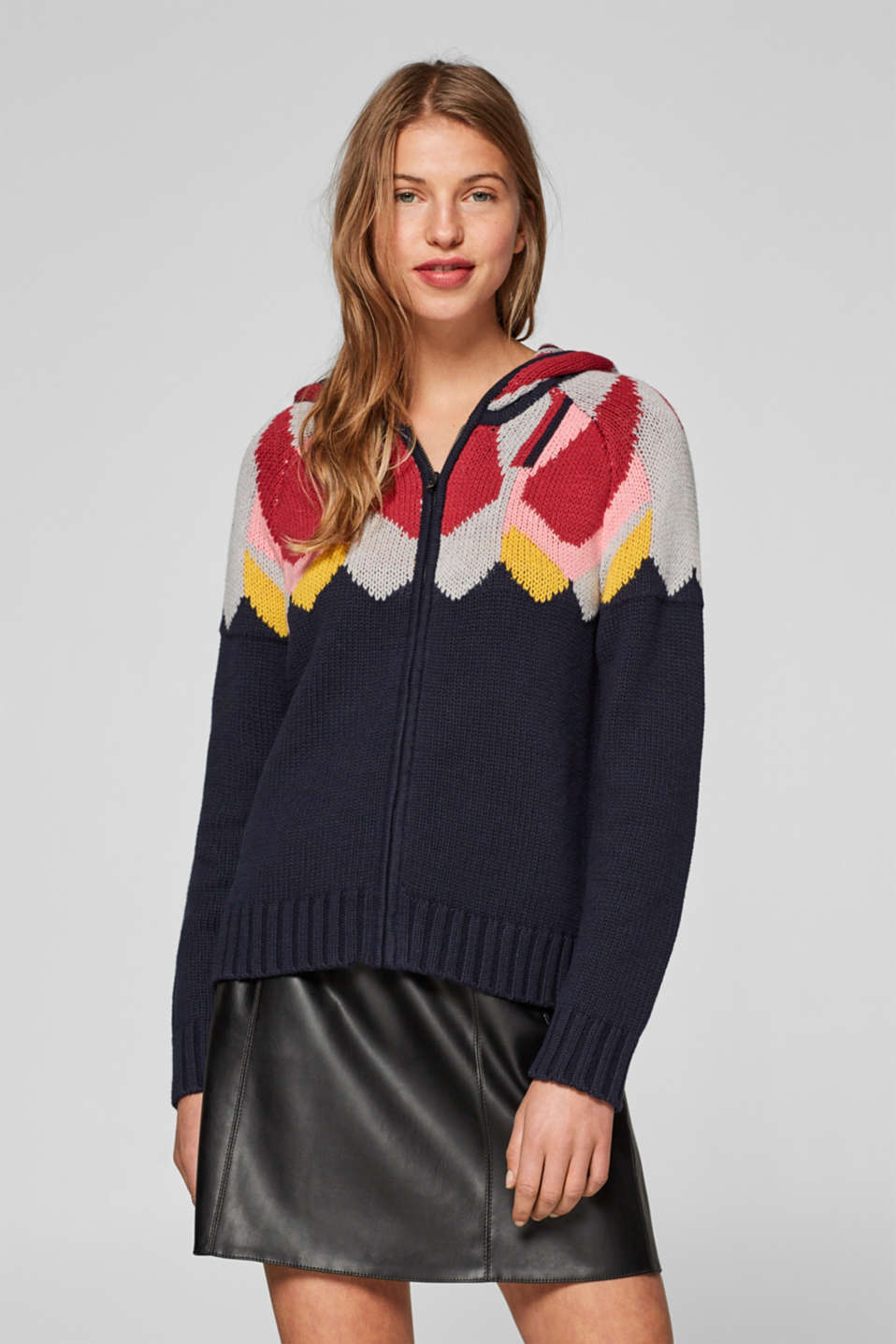edc - Hooded cardigan with colourful intarsia