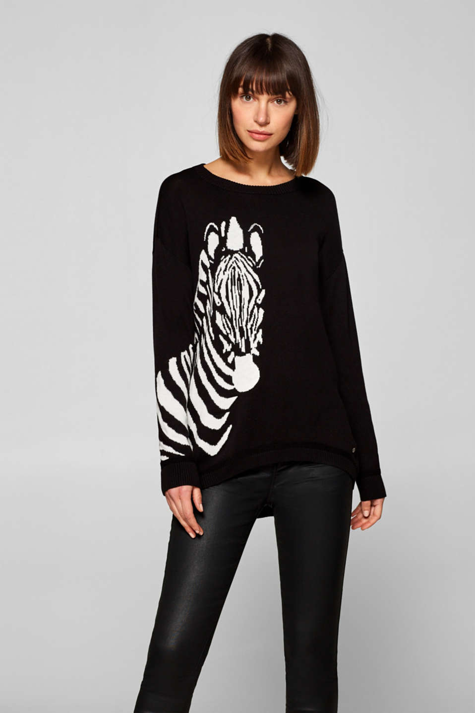 edc - Jumper with intarsia motif, cotton blend