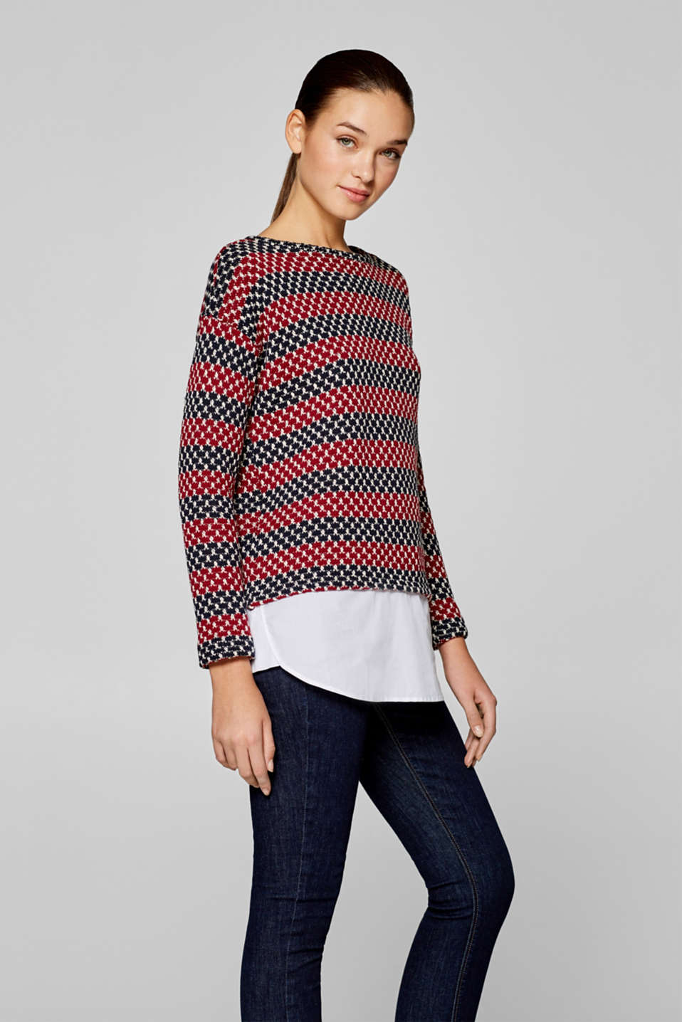 edc - Textured sweatshirt with cloth hem