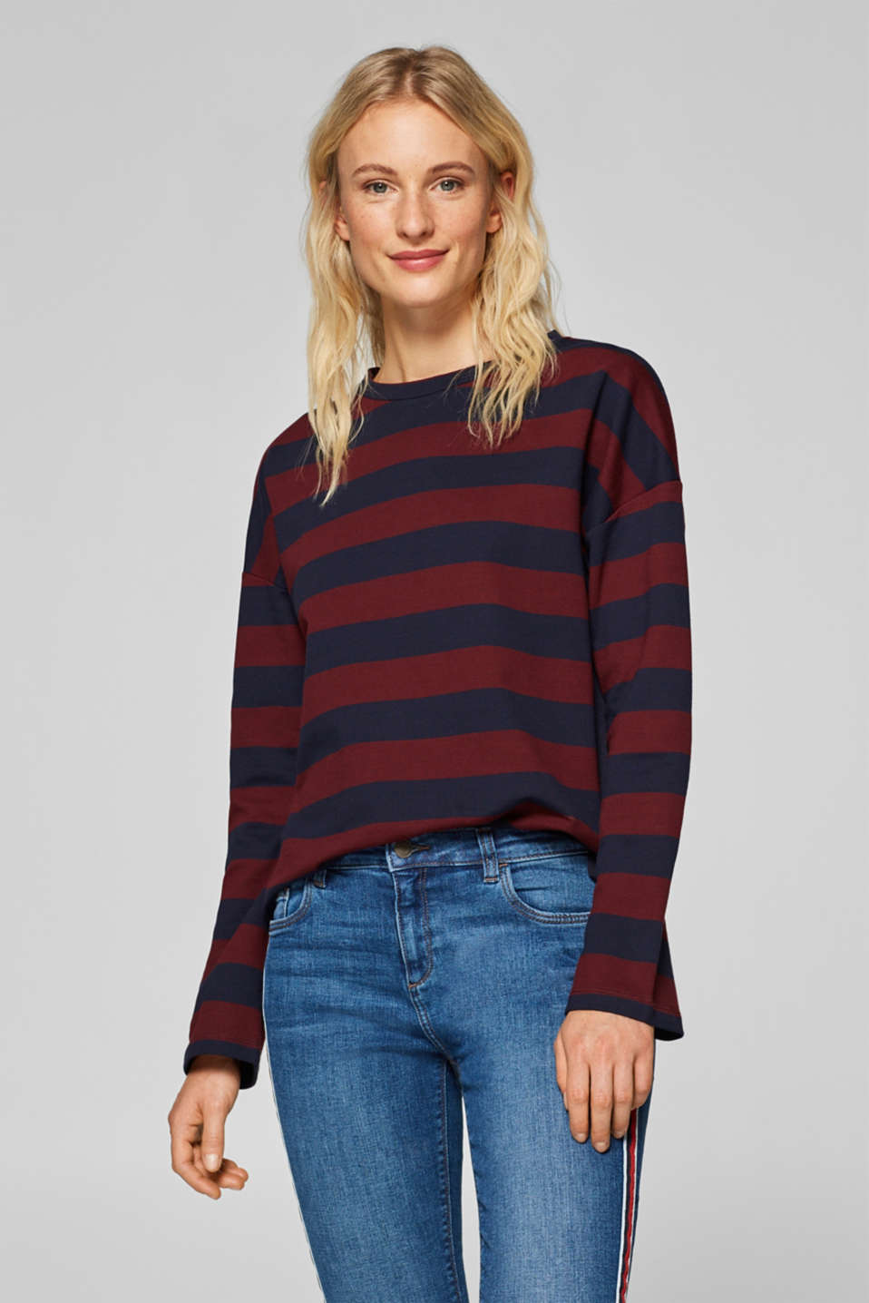 edc - Cotton sweatshirt with block stripes