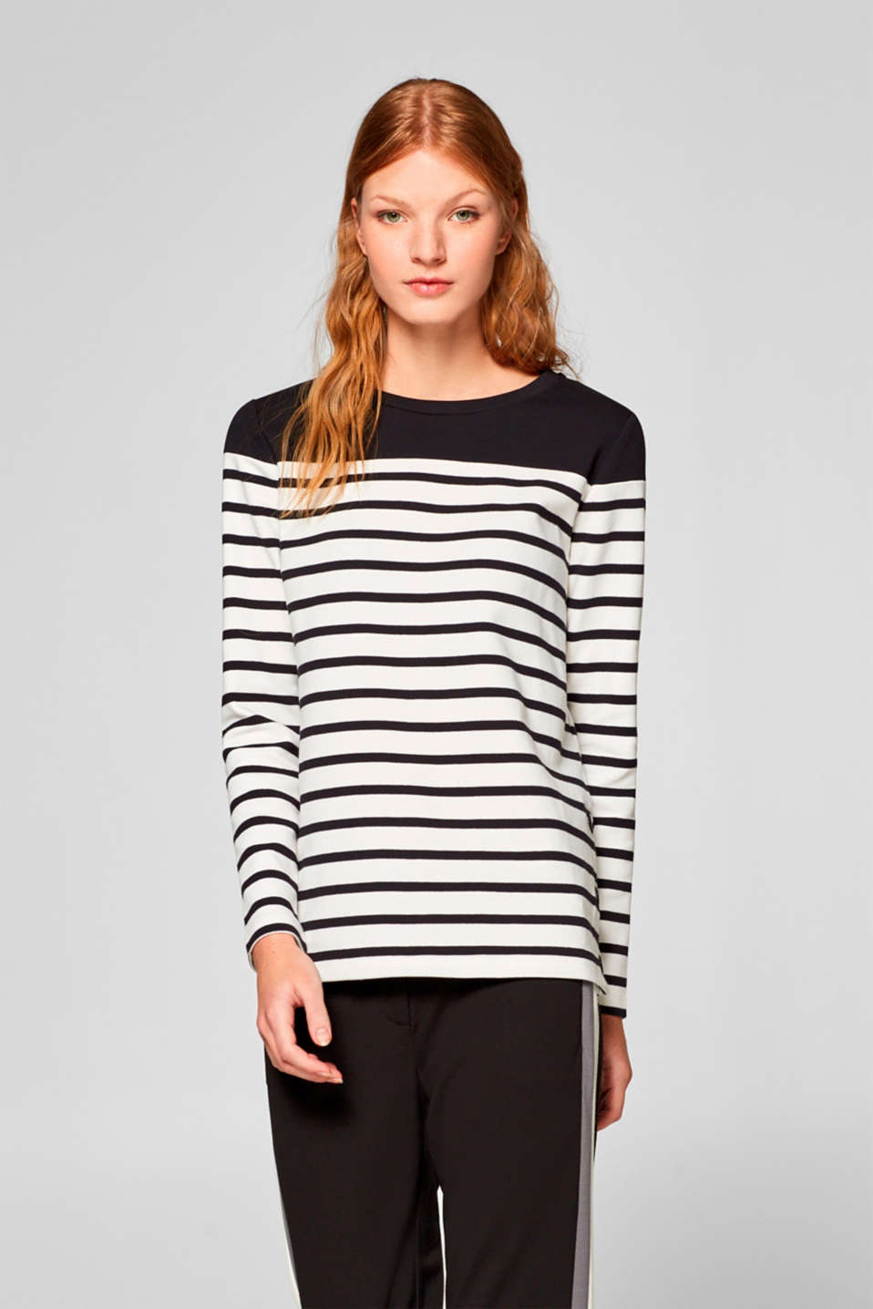 edc - Sweatshirt with stripes and press studs