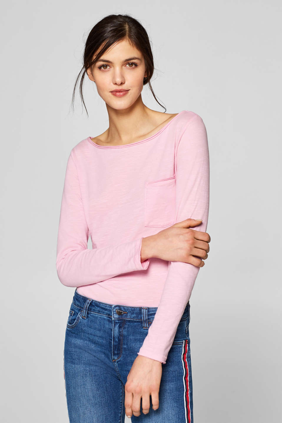 edc - Long sleeve slub top with breast pocket, 100% cotton