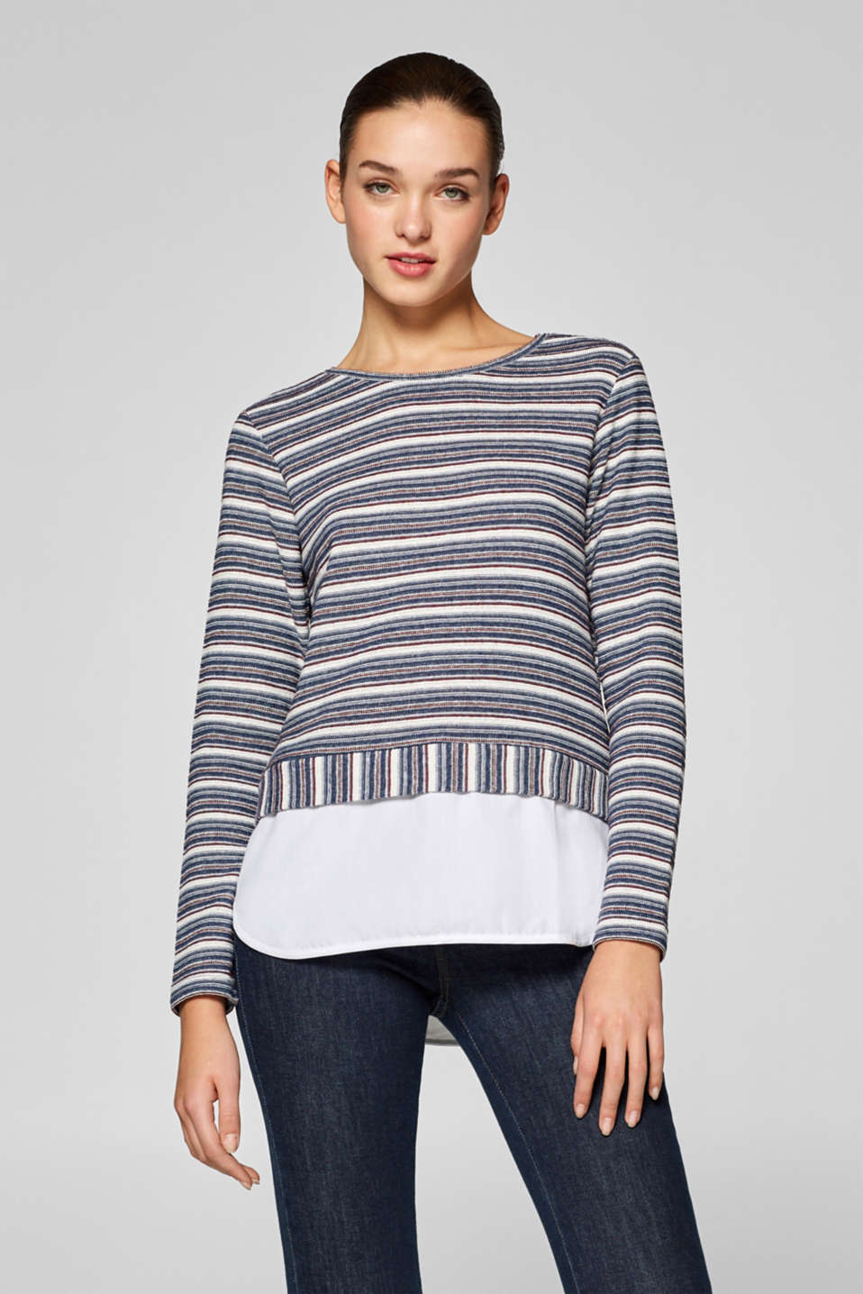 edc - Textured long sleeve top with layering