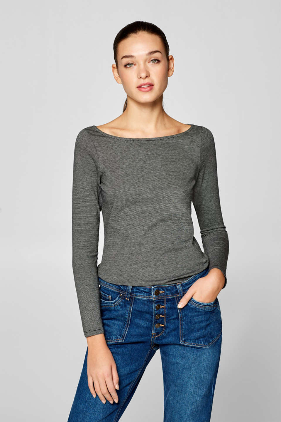 edc - Striped long sleeve top with organic cotton