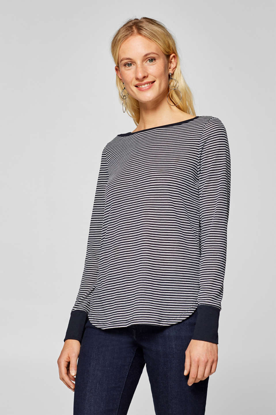 edc - Long sleeve top with textured stripes