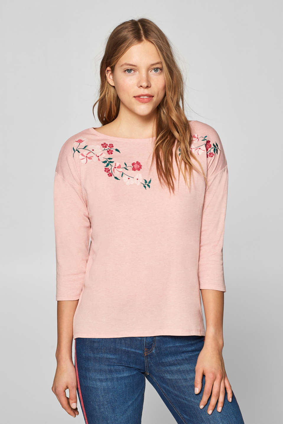 edc - Top with floral embroidery and bateau neckline