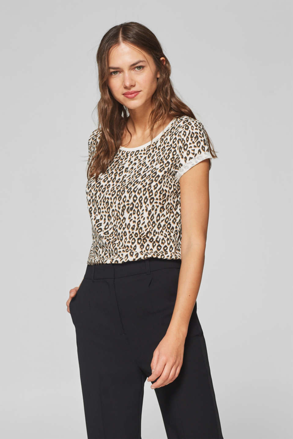 edc - Leopard print top with organic cotton, 100% cotton