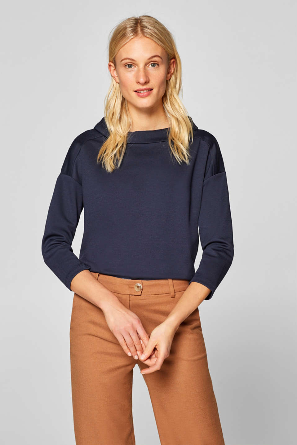 edc - Stretch long sleeve top with a turn-down collar