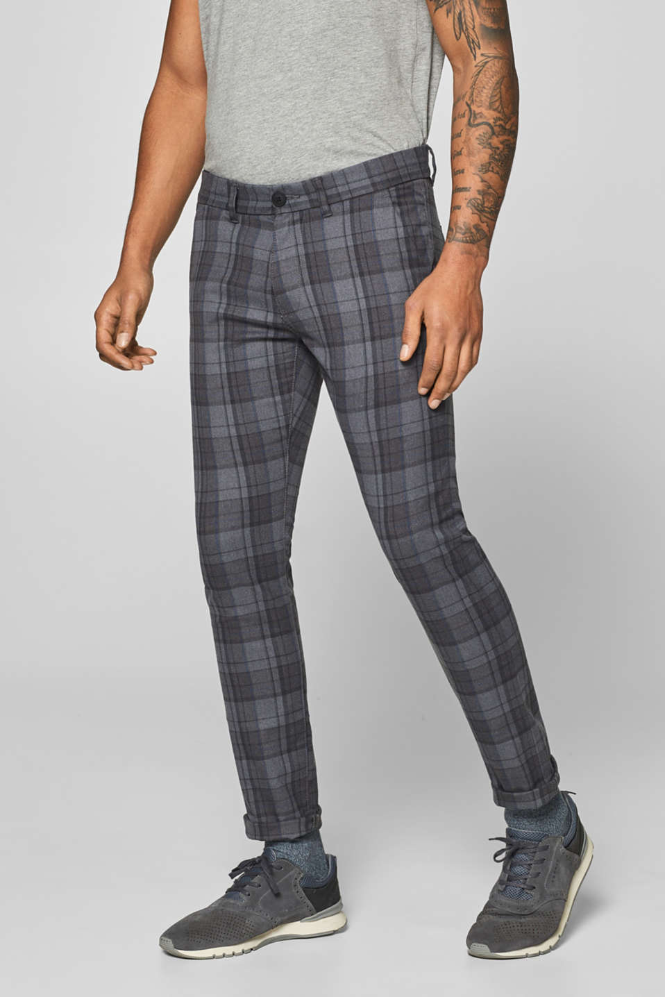 edc - Stretch trousers with a Prince of Wales check pattern