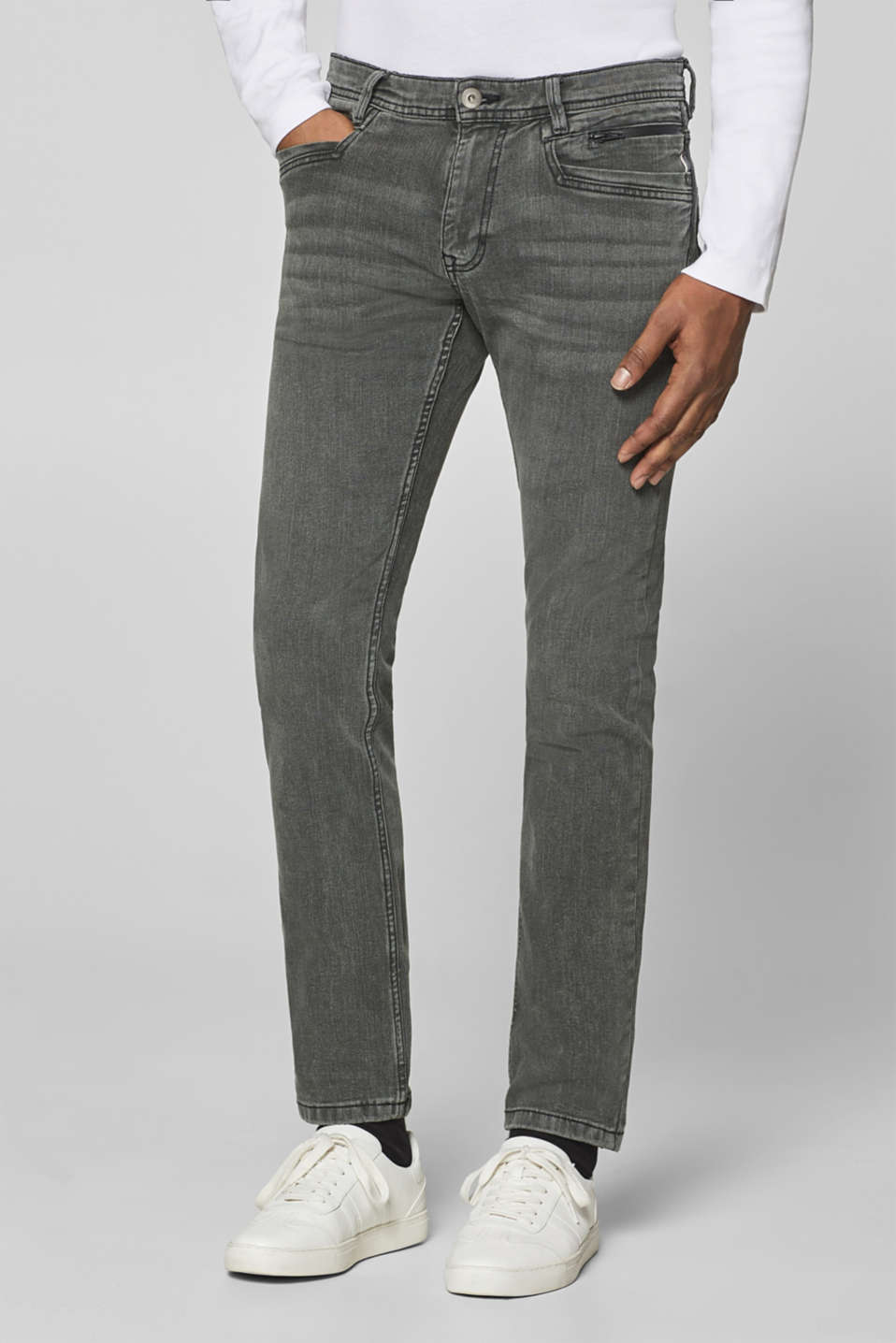 edc - Super stretch jeans with a grey garment wash