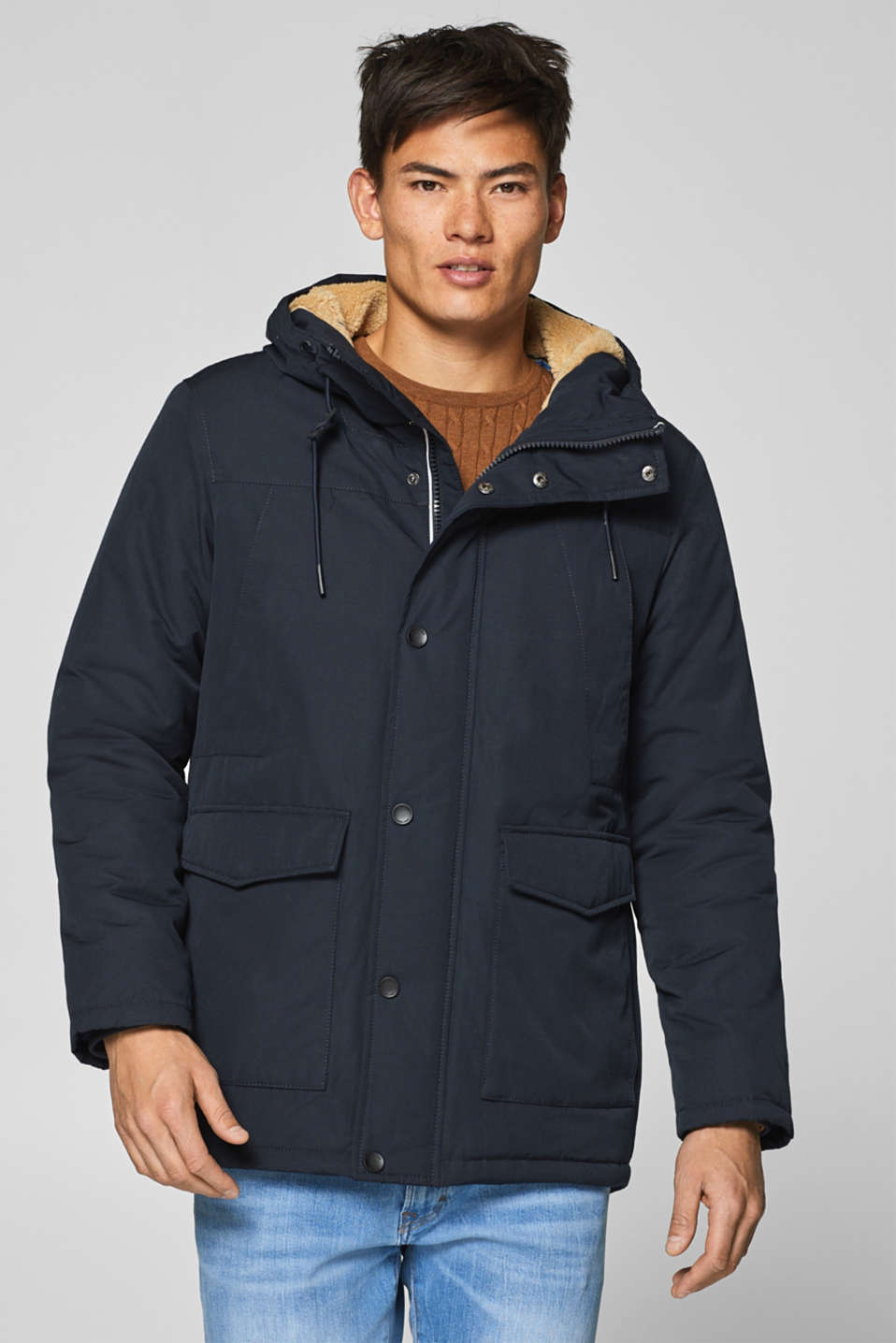 edc - Jacket with a hood and teddy lining