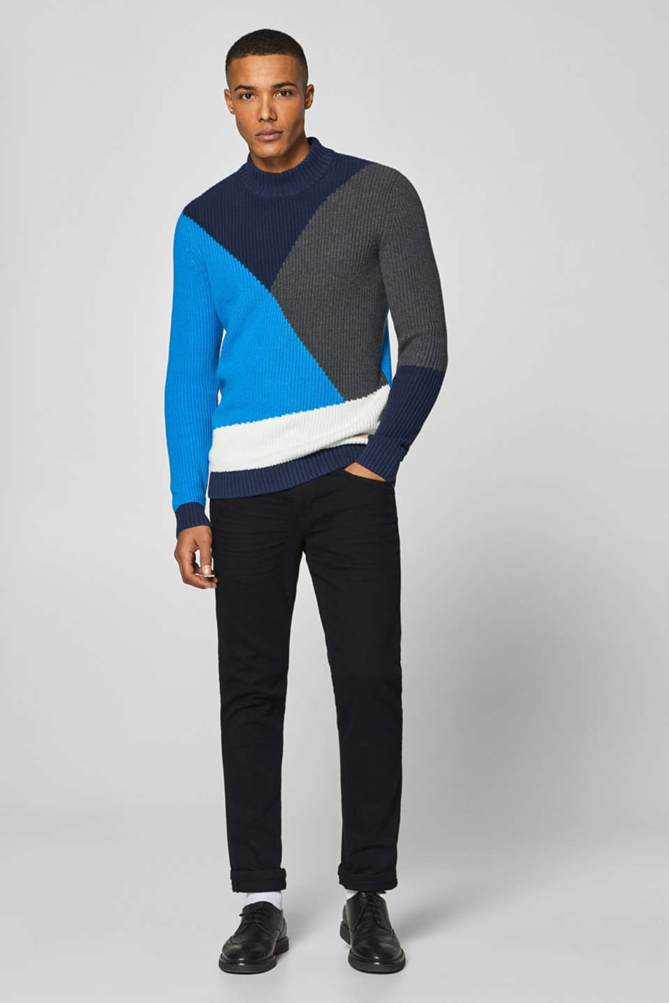 edc - Pull-over au look colour blocking, 100 % coton