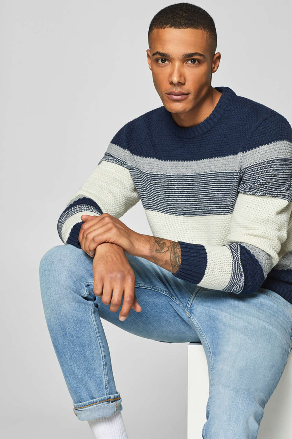 edc - With wool: jumper with textured stripes