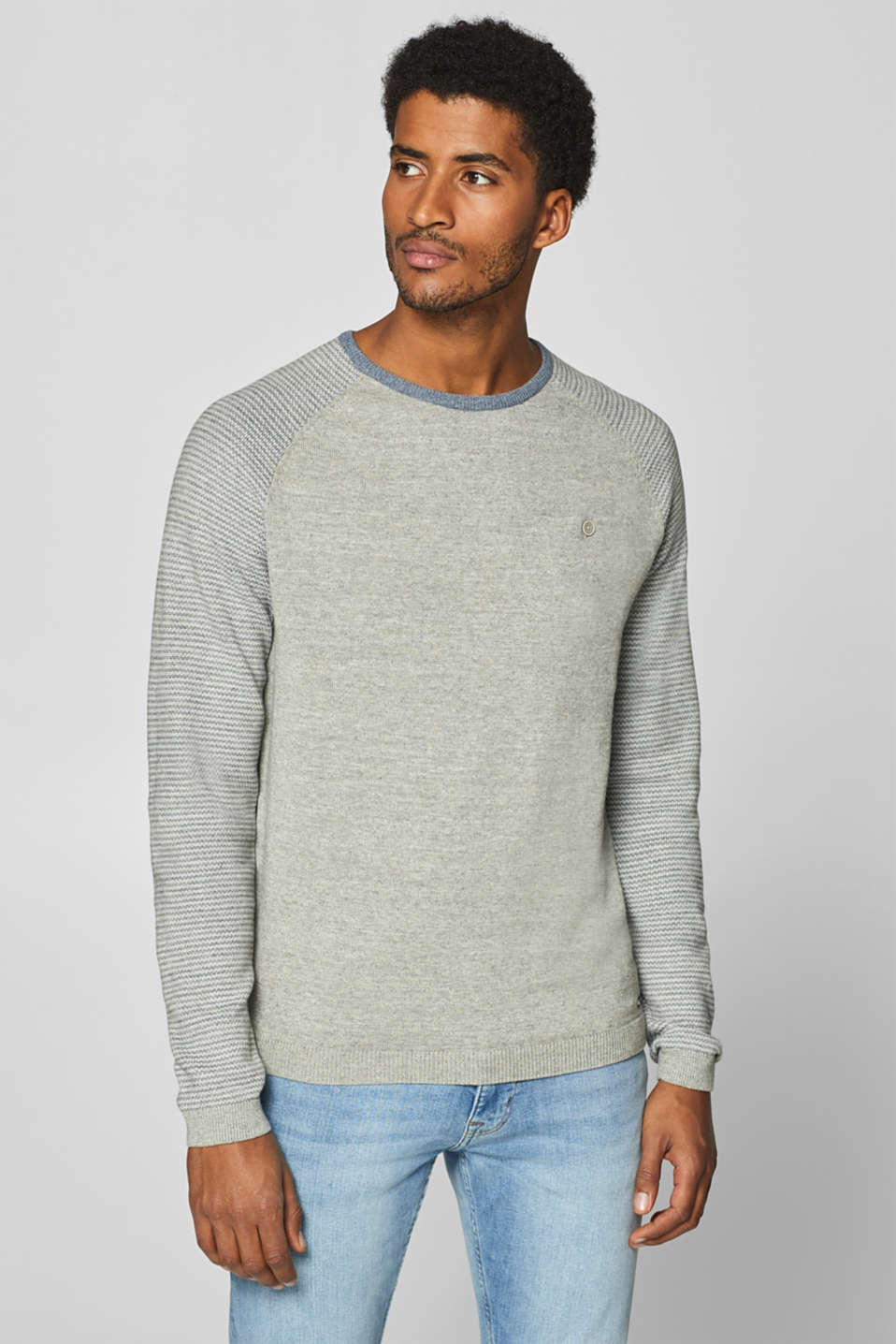edc - Jumper with raglan sleeves, 100% cotton