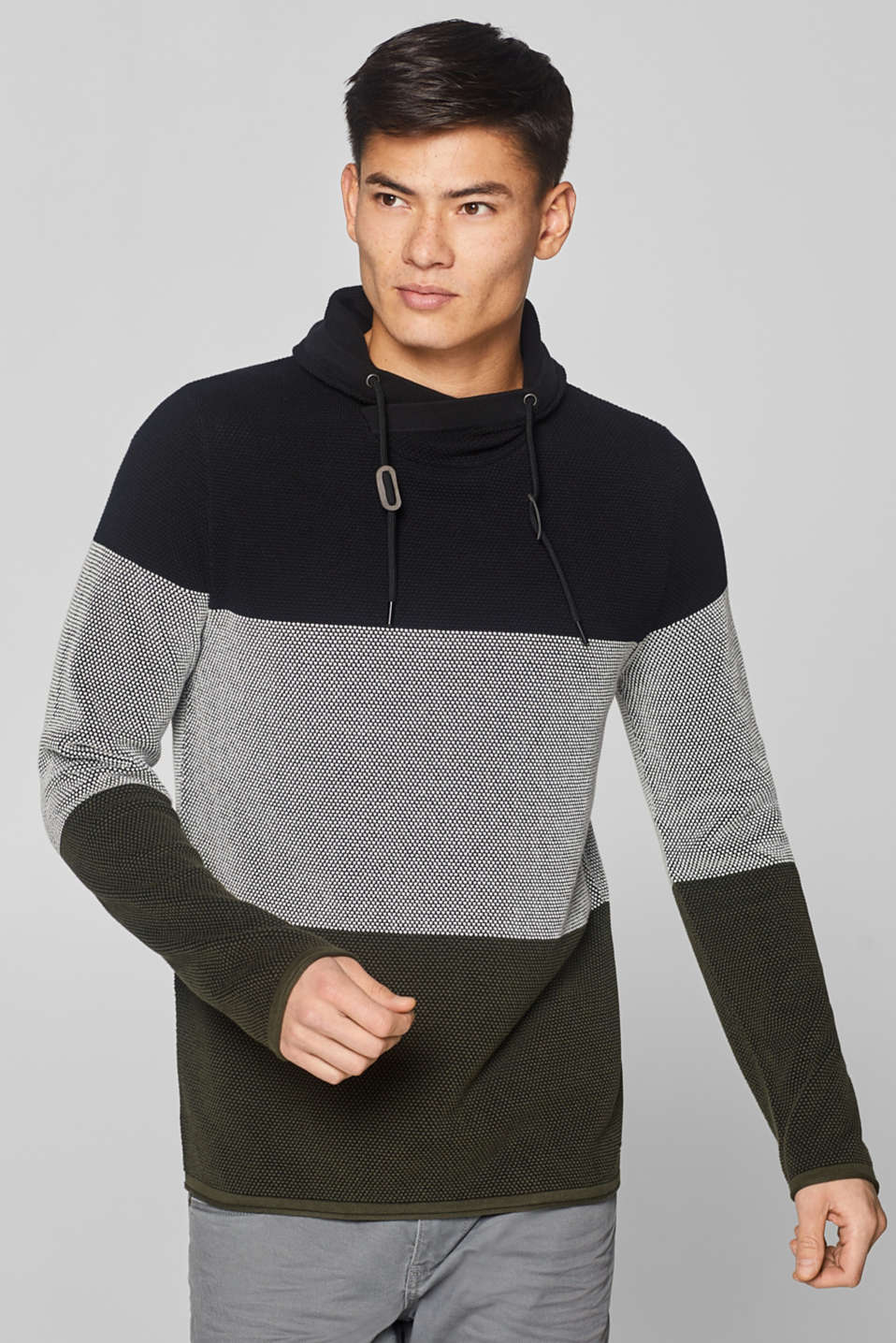 edc - Sweatshirt with a drawstring collar, 100% cotton