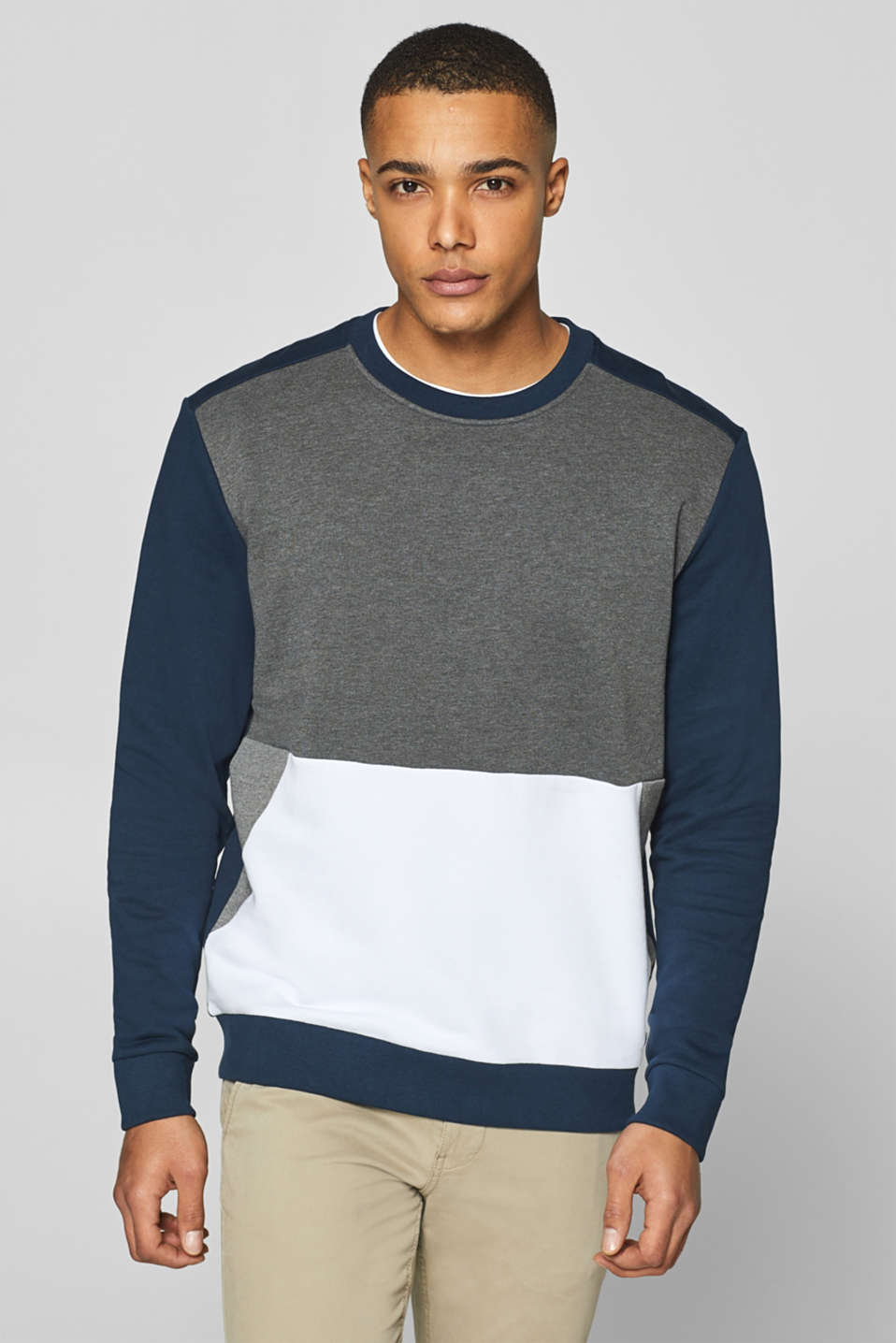 edc - Colour block sweatshirt van een katoenmix