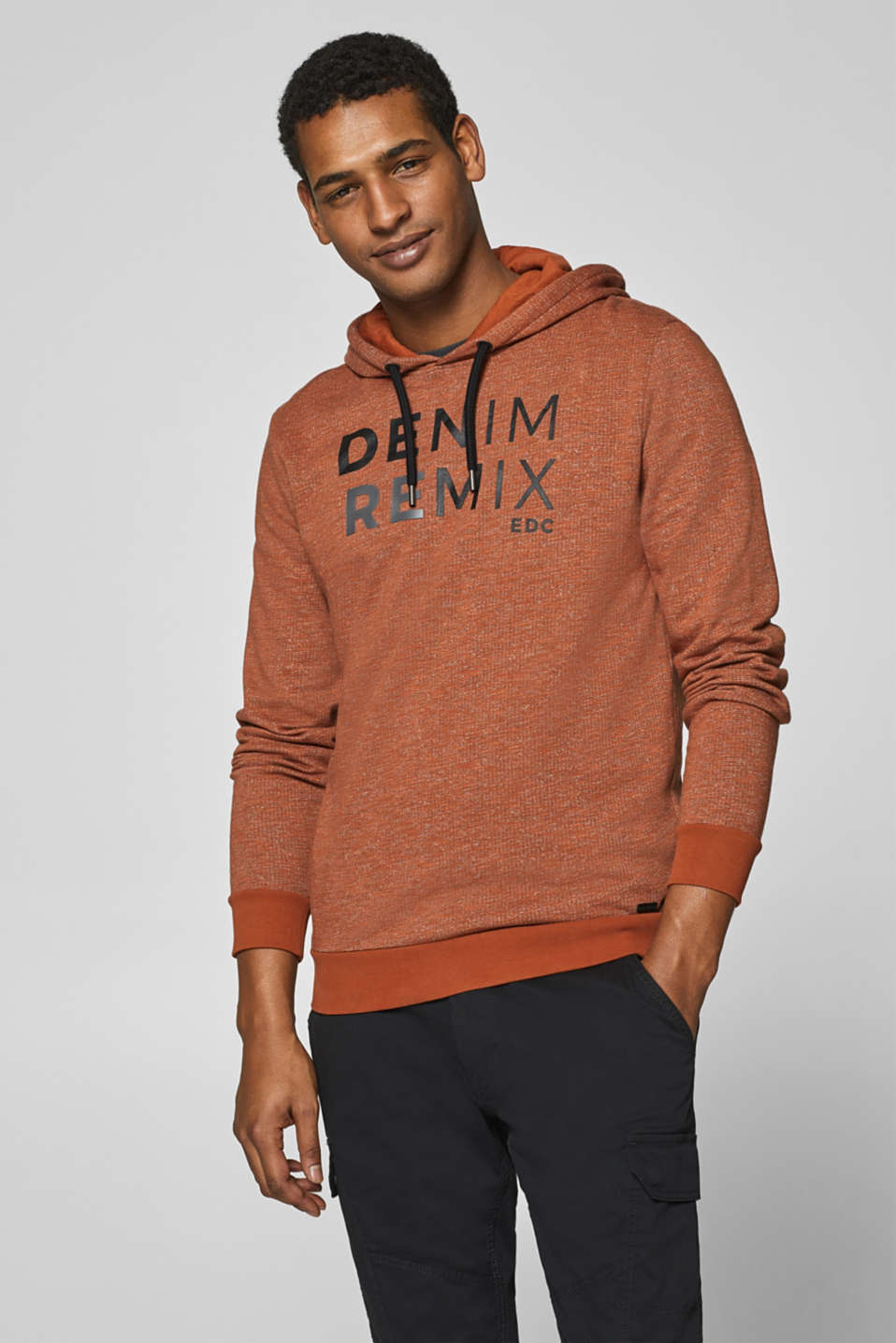 edc - Hoodie with printed lettering, 100% cotton