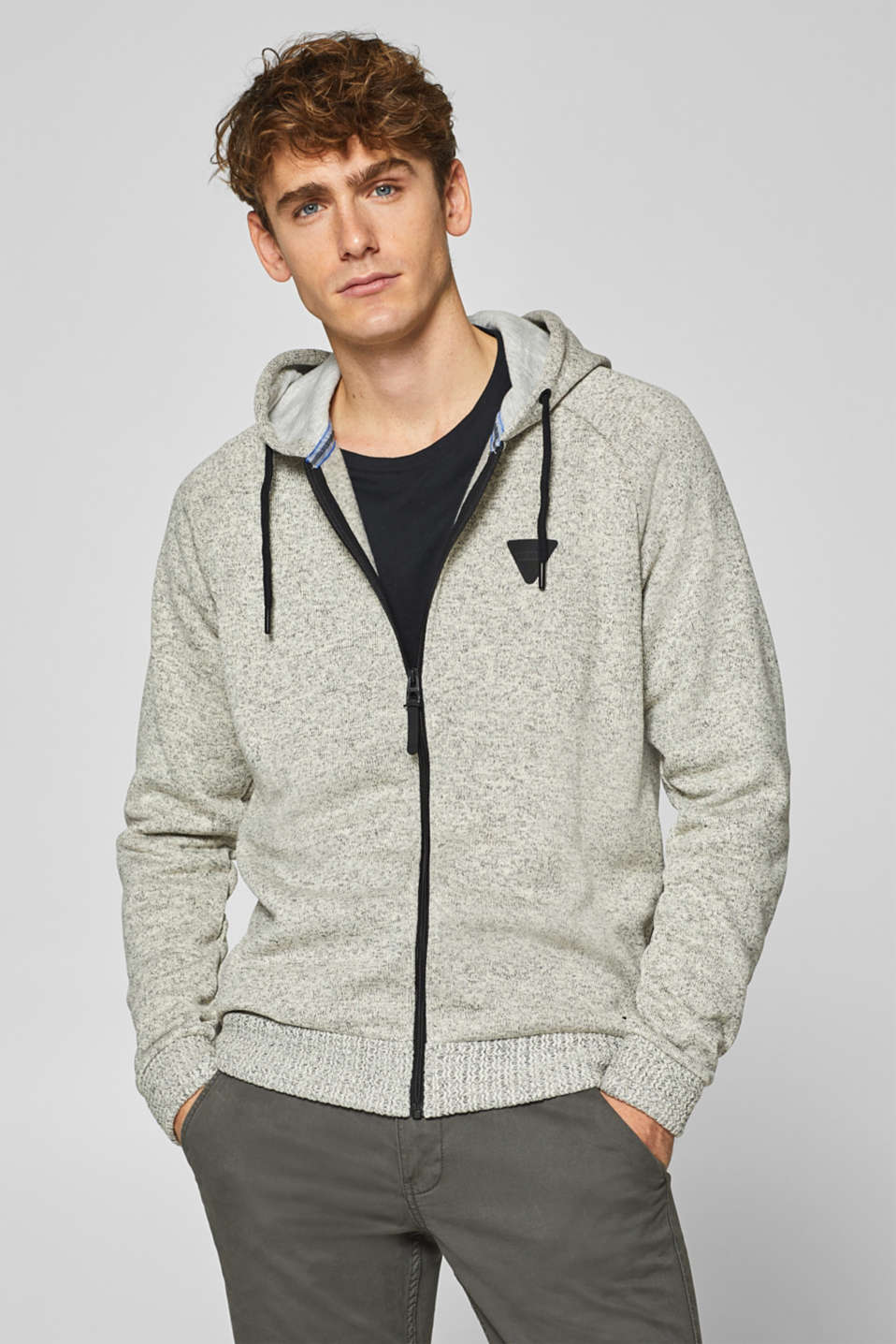 edc - Melange hoodie with knitted cuffs
