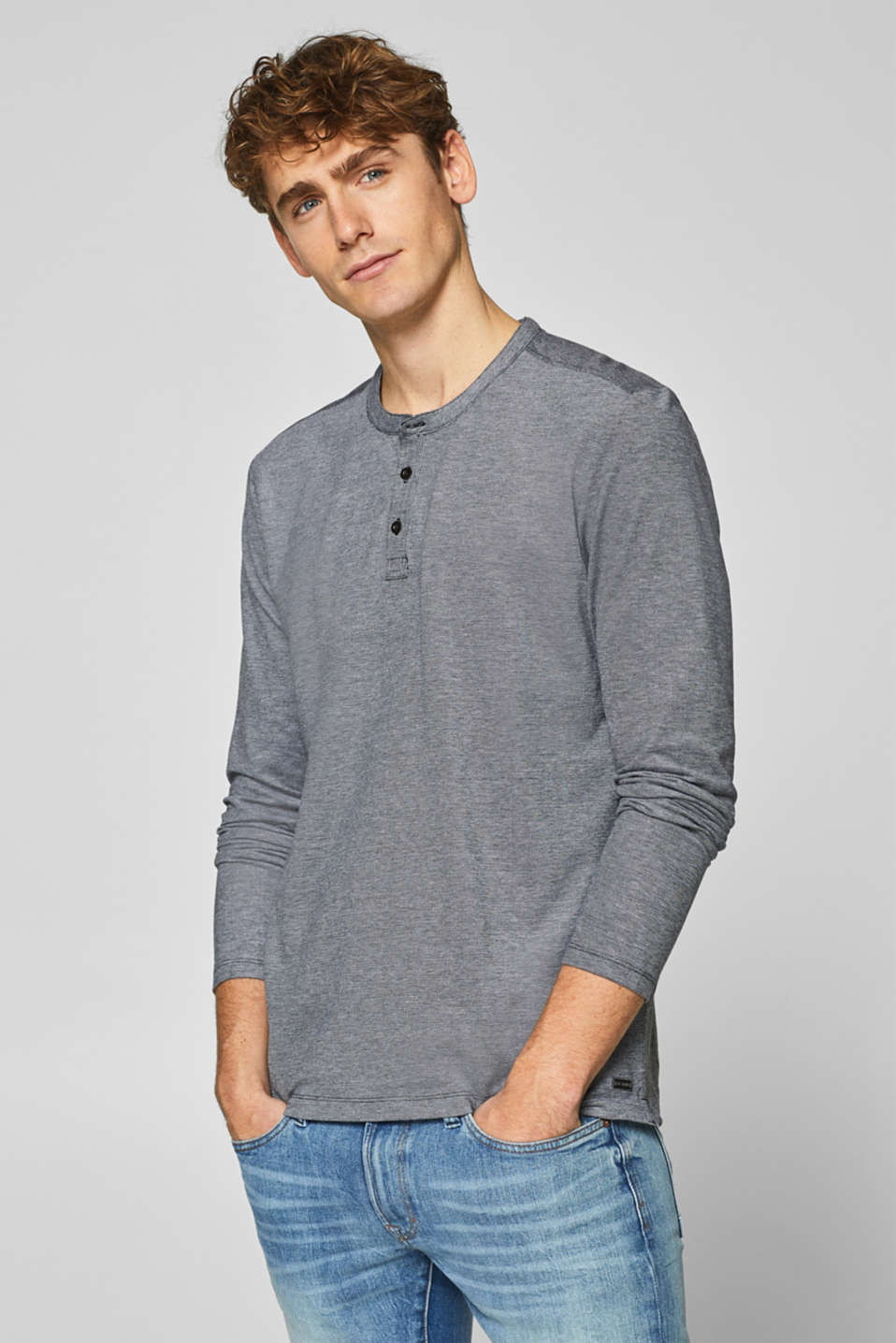 edc - Long sleeve piqué top in stretch cotton