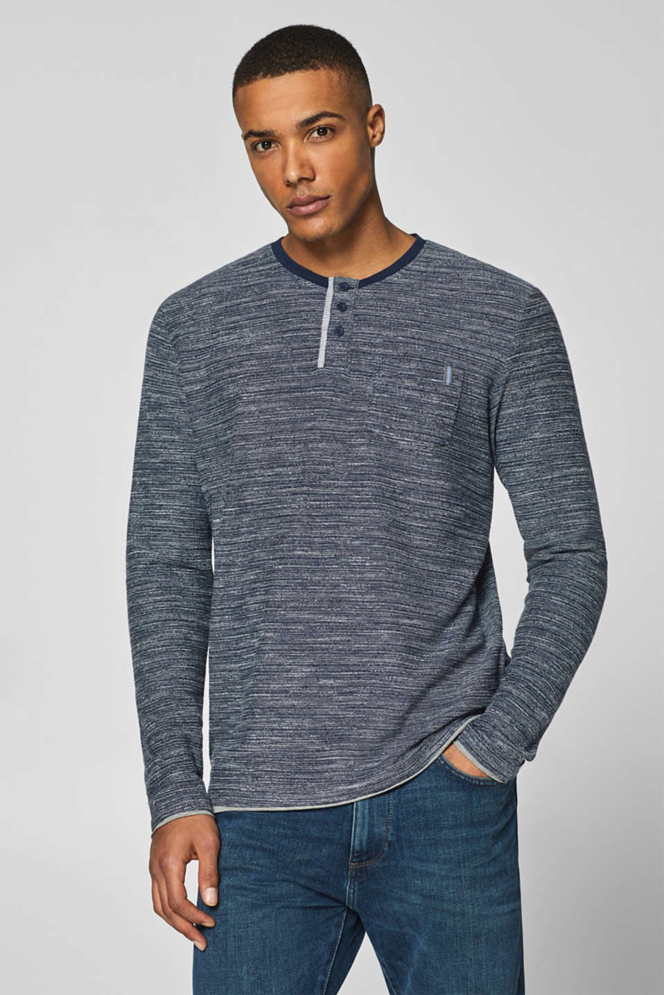 1c390224 edc - Long sleeve top with a Henley neckline at our Online Shop