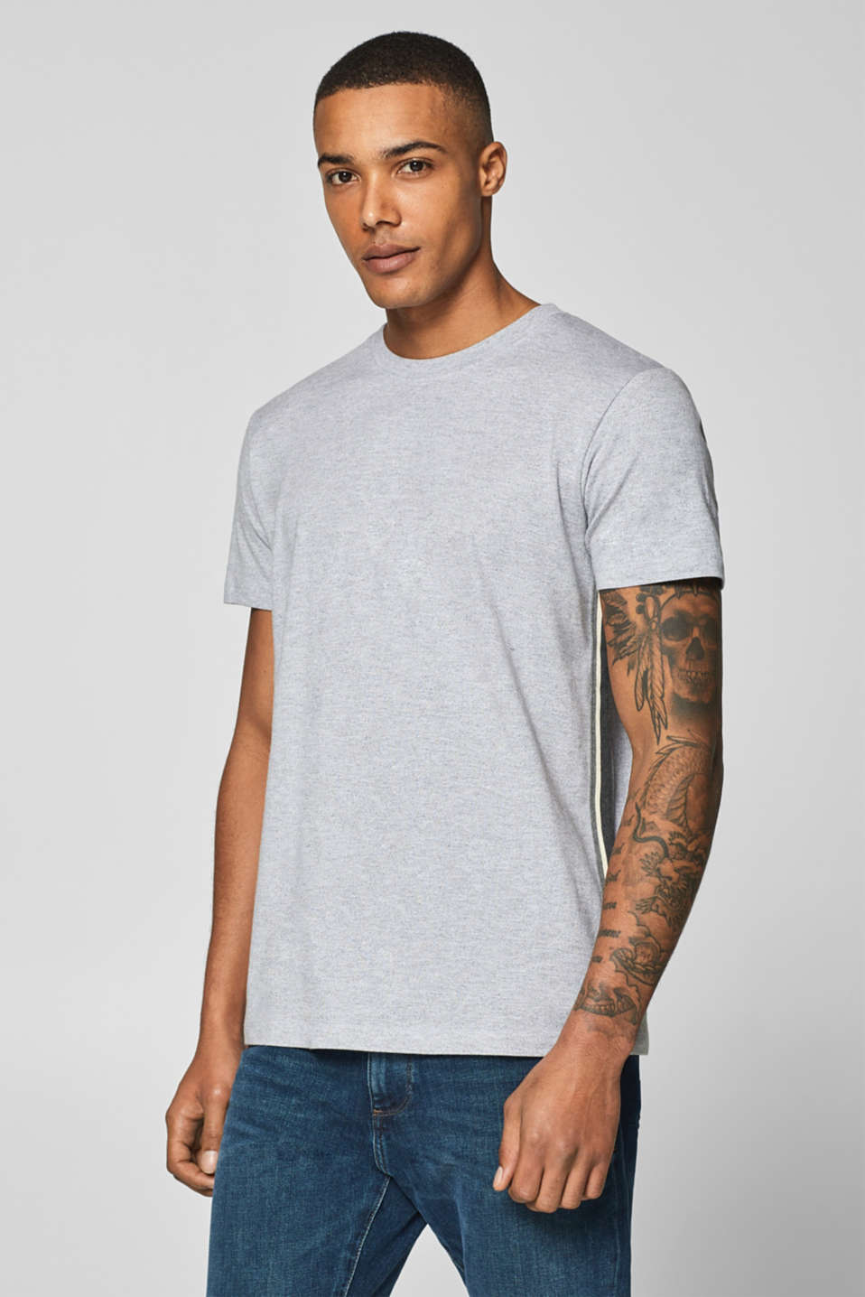 edc - Blended cotton jersey tee trimmed with woven tape
