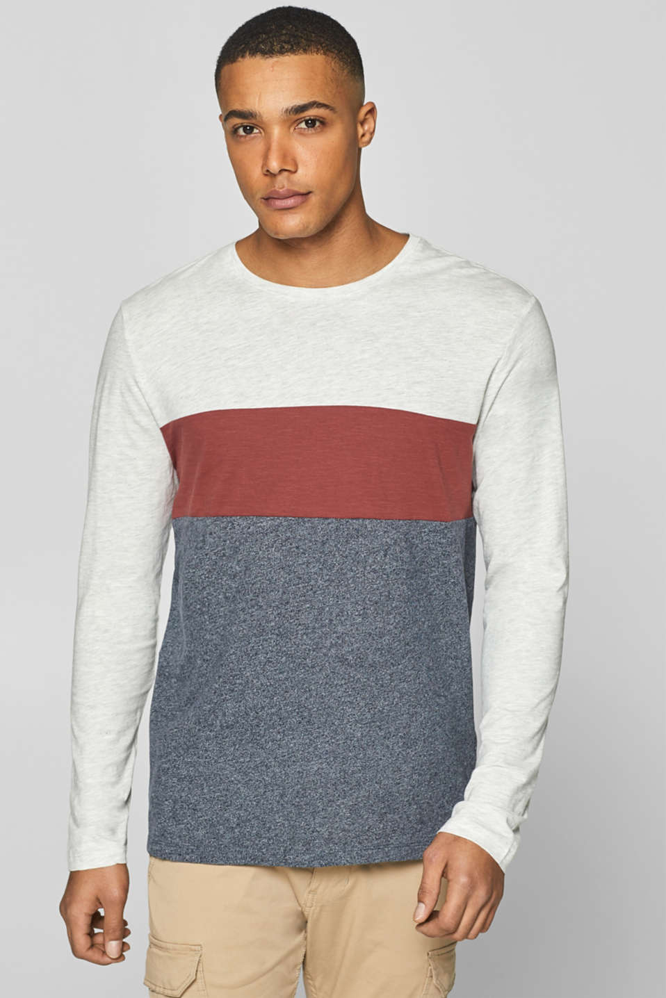 edc - Long sleeve top with block stripes, made of jersey