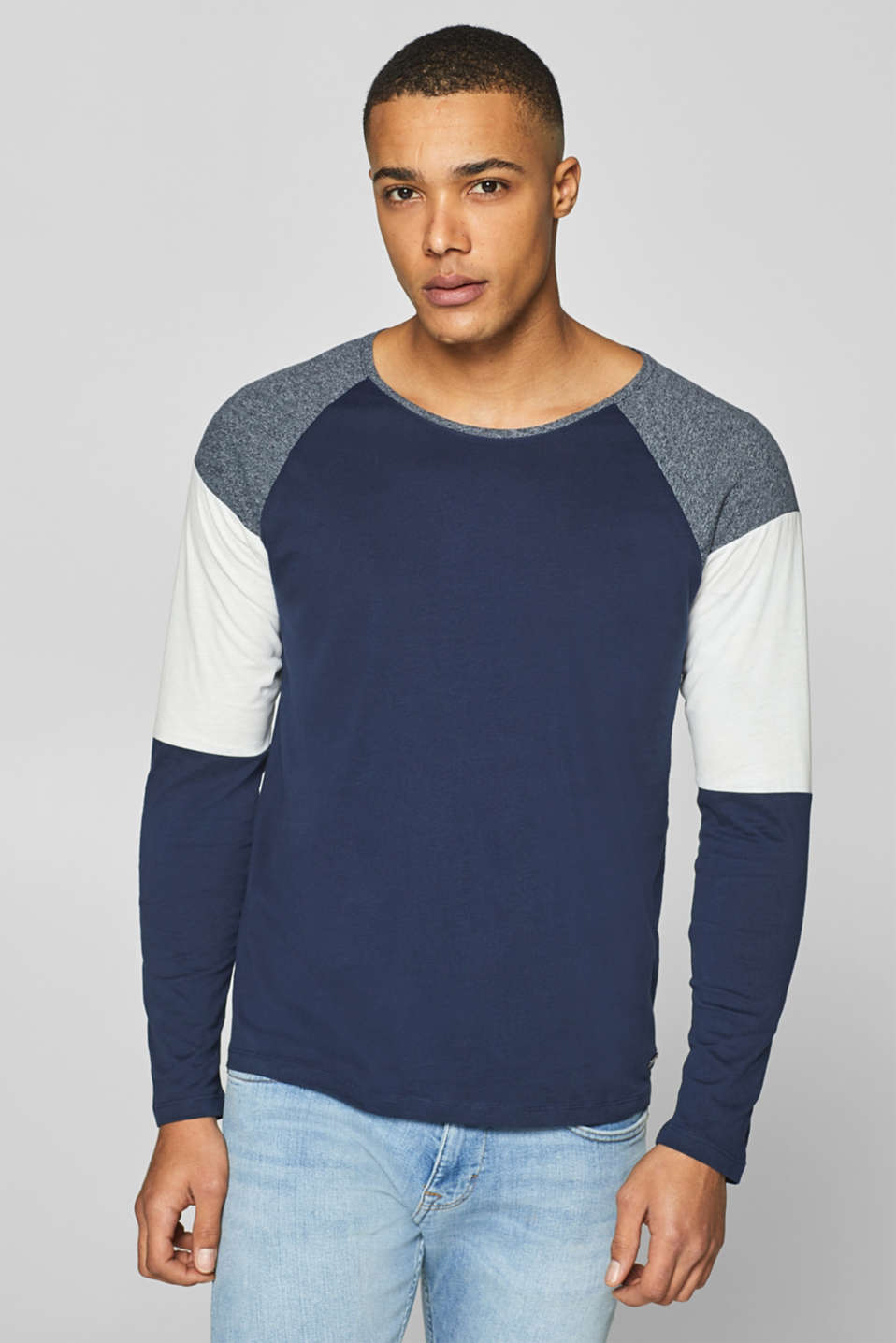 edc - Jersey long sleeve top with block stripes
