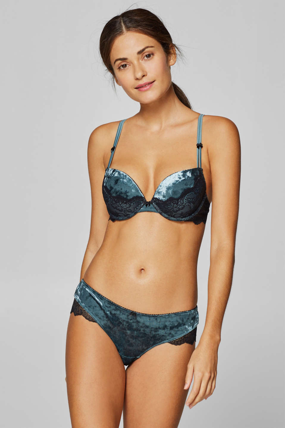 3e18a42337 edc - Push-up bra in velvet and lace at our Online Shop