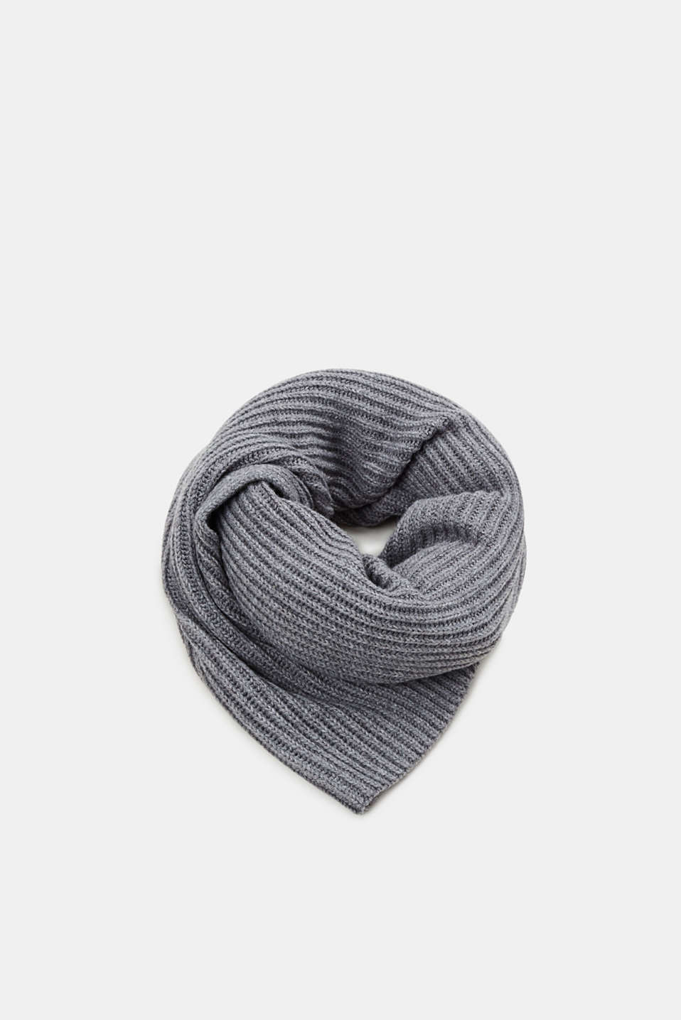 Esprit - With wool and cashmere: Scarf with a ribbed pattern